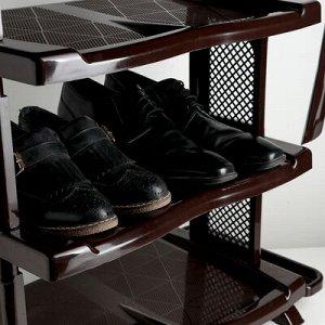 Полка для обуви с ложкой, 4 яруса, 50?32,5?72 см, цвет коричневый