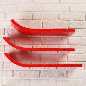 """Набор настенных полок """"Лыжи"""" красные 60*15см, толщина 3см"""