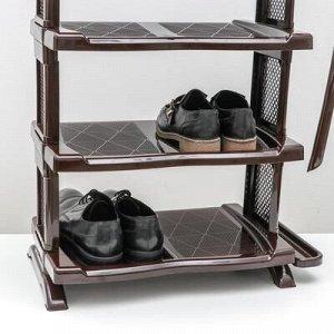 Полка для обуви с ложкой, 5 яруса, 50?32,5?91 см, цвет коричневый