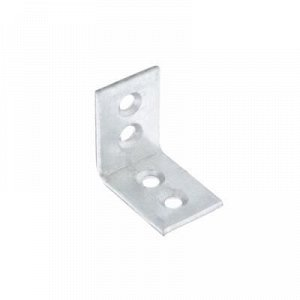 Уголки мебельные 25x25x17x2 с шурупом, цвет белый цинк, 4 шт.