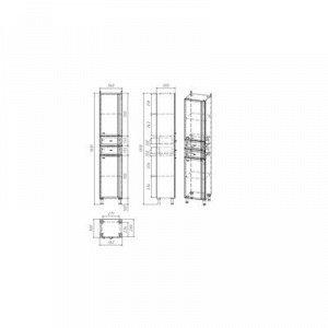 """Пенал """"Тура"""", 36 х 30 х 181 см, с двумя дверцами и ящиками"""