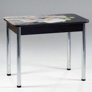 Стол прямоуголный с фотопечатью Орхидея белая 1000х600х777 стекло/подстолье венге