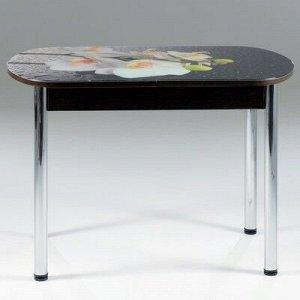 Стол раздвижной с фотопечатью Орхидея белая 1100/1500х700х777 стекло/подстолье венге