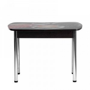 Стол раздвижной с фотопечатью Кофе-3 1100/1500х700х777 столешница стеклянная