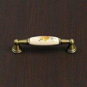 Ручка-скоба с фарфором SF05-06, 96мм, бронза