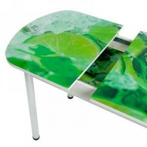 Стол раздвижной с фотопечатью Лайм 2 1100/1500х700х777 столешница стеклянная