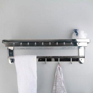 Полка откидная с держателем полотенец, 5 крючков, 59?23,5?18 см, цвет хром