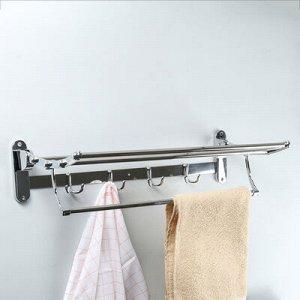 Полка откидная с держателем полотенец, 4 двойных крючка, 58,5 ?25,5?15,5 см, цвет хром