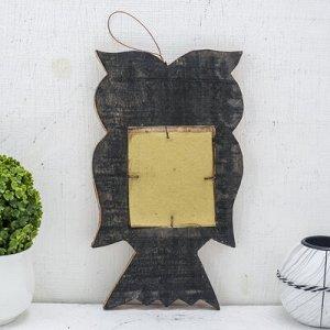 """Зеркальное панно дерево """"Сова с сердцем"""" 1,3х14х24 см"""