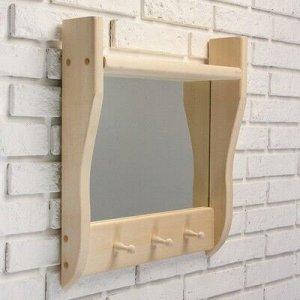 Зеркало резное с 1 полкой и 3 крючками, 45?50?10 см