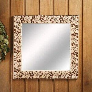 """Зеркало настенное """"Виноградная лоза"""" для бани, 38?38 см"""