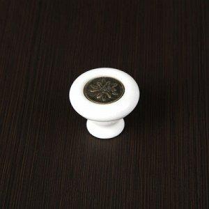 Ручка кнопка Ceramics 005-S, керамическая, белая