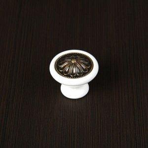 Ручка кнопка Ceramics 005-L, керамическая, белая