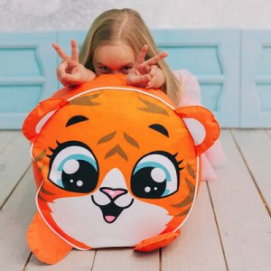 Игрушка-пуфик «Тигр», мягкая, 40 ? 40 см, цвет оранжевый