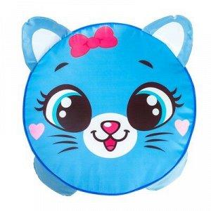 Мягкая игрушка «Пуфик Кот» 40см х 40см, цвет голубой