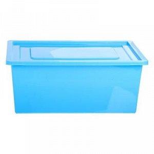 Ящик универсальный для хранения с крышкой, объем 30 л, цвет голубой
