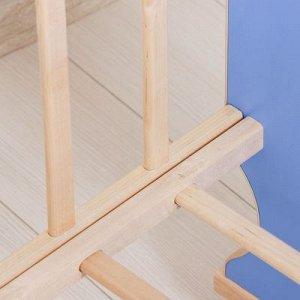 Детская кроватка «Сыночек» на качалке с поперечным маятником, цвета МИКС голубой/бежевый