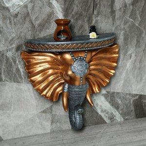 """Консоль """"Индийский слон"""", цвет бронза, серебро, 40x 37 см"""