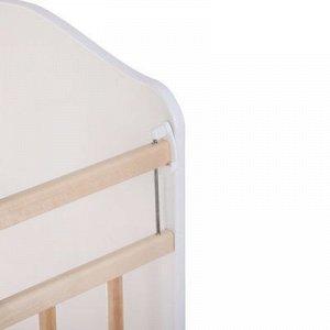 Детская кроватка «Морозко» на качалке с поперечным маятником, цвет белый/берёза