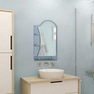 """Зеркало в ванную комнату, двухслойное, 80?60 см """"Ассоona A623"""", 3 полки, цвет сталь"""