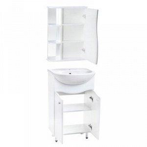 Комплект мебели Тура 50: тумба с раковиной + шкаф-зеркало