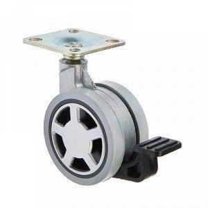 Колесо мебельное, d=60 мм ОКМД, с площадкой, с тормозом, мягкий ход