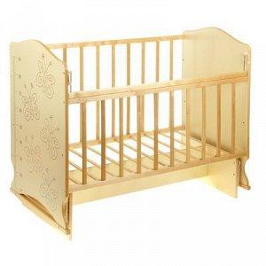 Детская кроватка «Морозко. Бабочки» на качалке с поперечным маятником, цвет бежевый/берёза