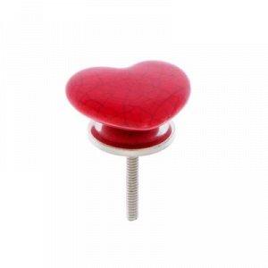 """Ручка керамическая для мебели BLUMEN HAUS """"Сердце"""", красный"""
