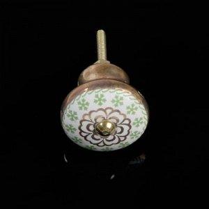 """Ручка металлическая для мебели BLUMEN HAUS """"Зеленый чай"""", цвет зеленый, золотой"""