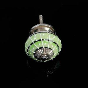 """Ручка керамическая для мебели BLUMEN HAUS """"Восточный узор"""", ручная роспись,зеленый, белый"""