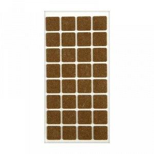 Подпятник войлочный 25х25 мм, 32 шт., цвет коричневый