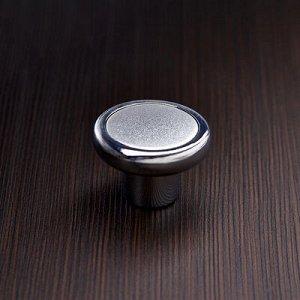 Ручка кнопка РК101, цвет хром с белой вставкой