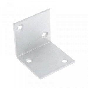 Уголки мебельные 40x40x40x2 с шурупом, цвет белый цинк, 4 шт.