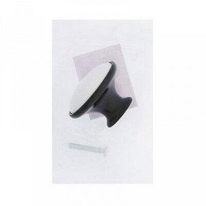 Ручка кнопка РК023BL LIGHT, чёрная с белой вставкой