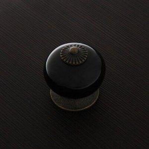 Ручка кнопка Ceramics 003, керамическая, черная