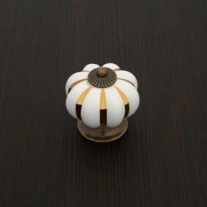 Ручка кнопка РК117 (001) , белая с золотым
