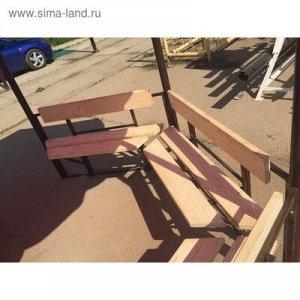 """Беседка разборная """"Семейная"""" 2,5 х 2,5 с 5-ю скамейками и красной крышей"""