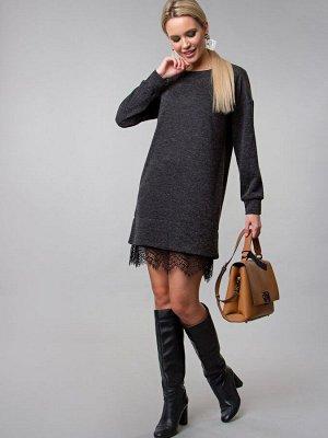 Платье -туника цвет темно-серый (П-242-1)