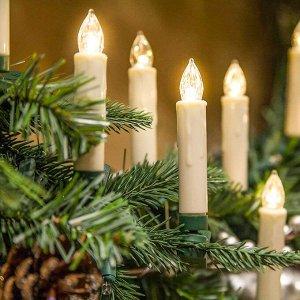 Набор ёлочных свечей на клипсах с пультом, 10 шт., 1,8 х10 см.