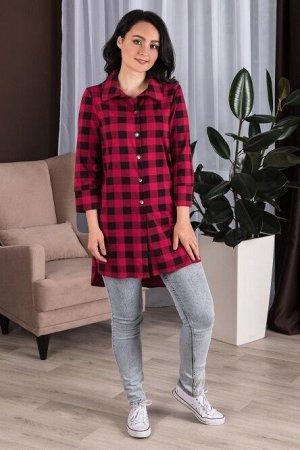 Туника 100% хлопок Тип ткани:  Кулирка Удлиненная модель рубашки с ассиметричным кроем из мягкого трикотажного полотна вишневого оттенка. Рубашка прямого силуэта с втачным рукавом 3/4, а так же с заст