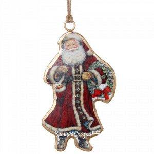 Металлическая елочная игрушка Санта Клаус в бордовой шубе 10 см (ShiShi)