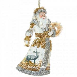 Елочная игрушка Дед Мороз - Лесной властитель 13 см в белом, подвеска (Kurts Adler)