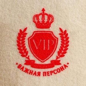 """Шапка для бани """"Классическая"""" с шелкографией """"VIP, Банный клуб, важная персона"""""""