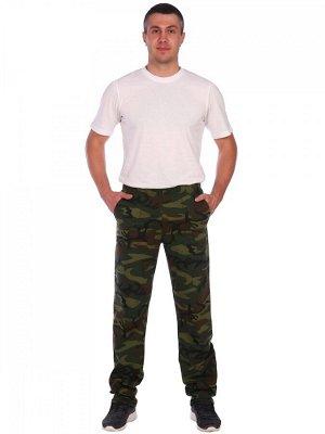 Брюки Брюки мужские-камуфлированные прямого кроя, с двумя боковыми карманами, пояс изделия изготовлен на специальной машине. При изготовление брюк используется ткань - футер облегченный, плотностью 19