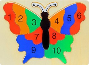 Пазлы с цифрами Бабочка
