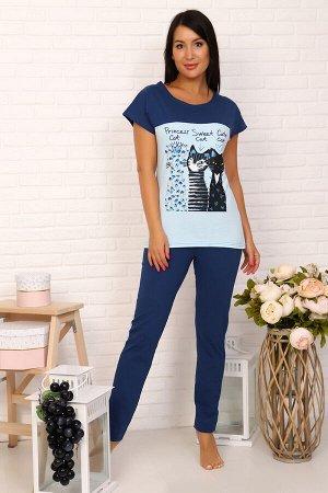Костюм Бренд Натали. Ткань: кулирка Состав: 100% хлопок Костюм женский из кулирного полотна состоит из кофты и брюк. Кофта приталенный силуэт, верх на кокетке, горловина круглая, рукав спущенный, коро