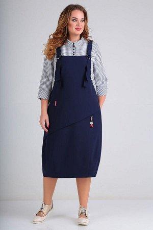 ELGA Платье свободного кроя. Лиф имеет центральную кокетку с рубашечным воротником на стойке, застежкой на петли-пуговицы и отрезные бочки из отделочной ткани. Декоративные бретели, создающие эффект с