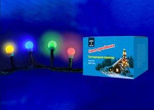 Гирлянда светодиодная с контроллером «Разноцветные шарики-1», 5м. 100 светодиодов. Разноцветный свет. Провод зеленый.  MULTI IP20 COLORBALLS-1 (ULD-S0500-100/DGA)