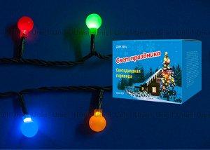 Гирлянда светодиодная с контроллером «Разноцветные шарики», 20 светодиодов, длина - 2,8 м, цвет свечения - разноцветный, IP20, провод зеленый, упаковка- картон., (ULD-S0280-020/DGA)