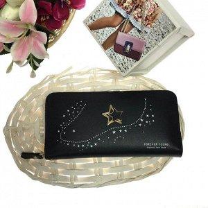 Полноразмерный женский кошелек Malina из матовой эко-кожи чёрного цвета.